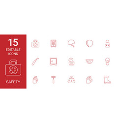15 safety icons vector image