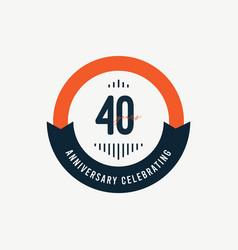 40 th anniversary celebrations retro orange vector