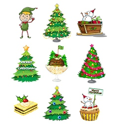 A Santa elf with the other christmas decorations vector image