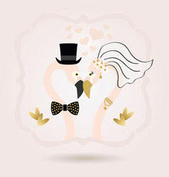 Abstract flamingo bride and groom wedding card vector