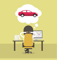 african businessman dreaming about new car vector image