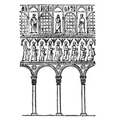 Arches of s apollinare nuovo the upper edge vector