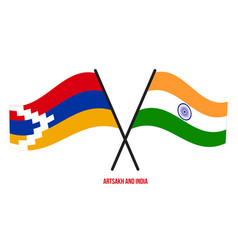 Artsakh and india flags crossed and waving flat vector