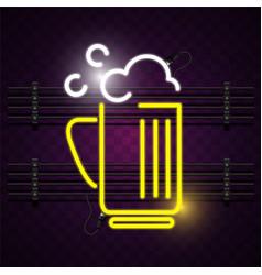 Beer mug neon sign purple background image vector