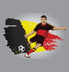 Belgium soccer player with flag as a background vector