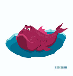 big pink fish in cartoon style fantasy monster vector image