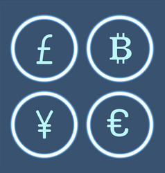 bitcoin cryptocurrency and yen icons set vector image