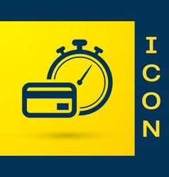 Blue fast payments icon isolated on yellow vector