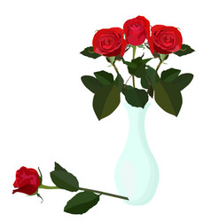 Bouquet red roses in vase flat isolated vector