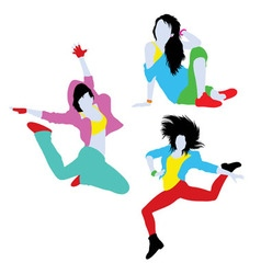 Break Dancing Silhouettes vector image