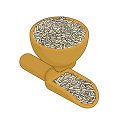 brown rice in wooden bowl and spoon groats in vector image