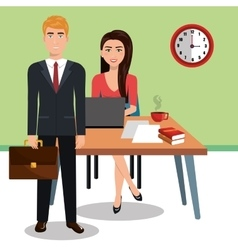 business people in training process isolated icon vector image