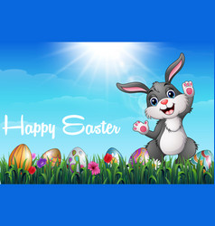 cartoon easter bunny with colored decorated eggs i vector image
