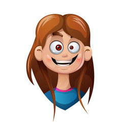 cartoon head girl funny smiley vector image