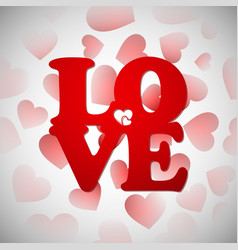 cartoon lovehappy valentines day with red heart vector image