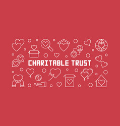 Charitable trust horizontal outline vector