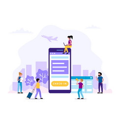 check-in concept with smartphone vector image
