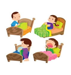 Children and bed vector