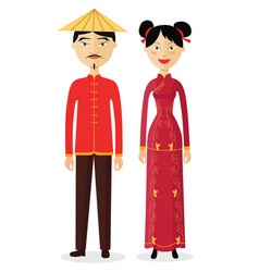 Chinese couple man and woman vector