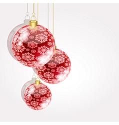 Christmas balls on golden strings on a light vector