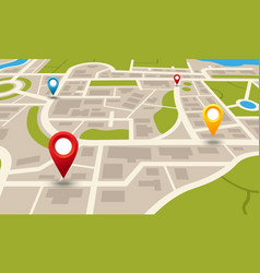 city map navigation plan with pointers location vector image