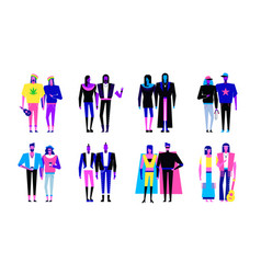 Colorful flat line characters vector