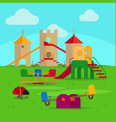colorful playground with slides and swings vector image
