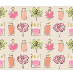 Cosmetics seamless pattern hand drawn Perfume vector image