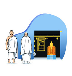 Couple hajj pilgrims in front maqam ibrahim vector