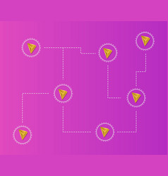Cryptocurrency tron blockchain network concept vector