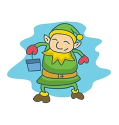 Cute and happy Christmas elf cartoon vector