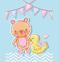 Cute bear and ducky cartoons vector