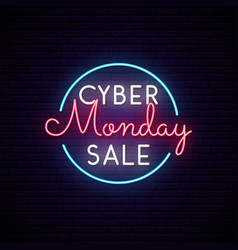 cyber monday neon signboard in circle sale sign vector image
