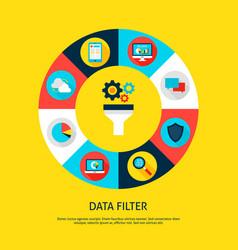 Data filter concept vector