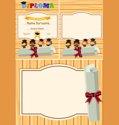 Diploma and background template with kids on vector