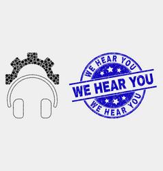 Dot gear headphones icon and grunge we hear vector