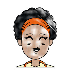 drawing girl young afro smiling close eyes vector image