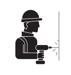 drilling wall worker black concept icon vector image