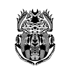 Entangle stylized scarab sketch for tattoo poster vector