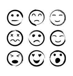 face icons emoticon with emotions happy sad vector image