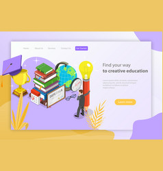 Find your way to creative education isometric vector