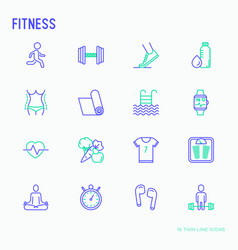 Fitness thin line icons set vector