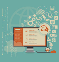 flat computing background with social media icons vector image