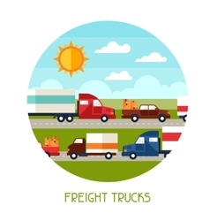 Freight trucks transport background in flat design vector