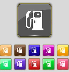 Fuel icon sign Set with eleven colored buttons for vector image