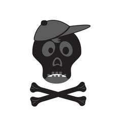 Funny skull with crossbones in a cap vector
