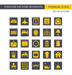furniture and home decorations set of icons grey vector image