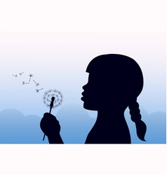 Girl holding a dandelion and blowing vector