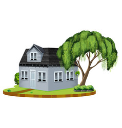 Gray house with big tree in lawn vector