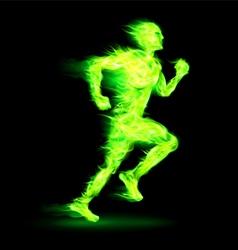 Green fiery running man vector